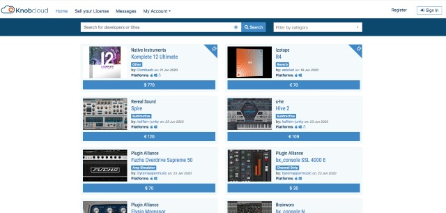 Marketplace For Audio Software Licenses