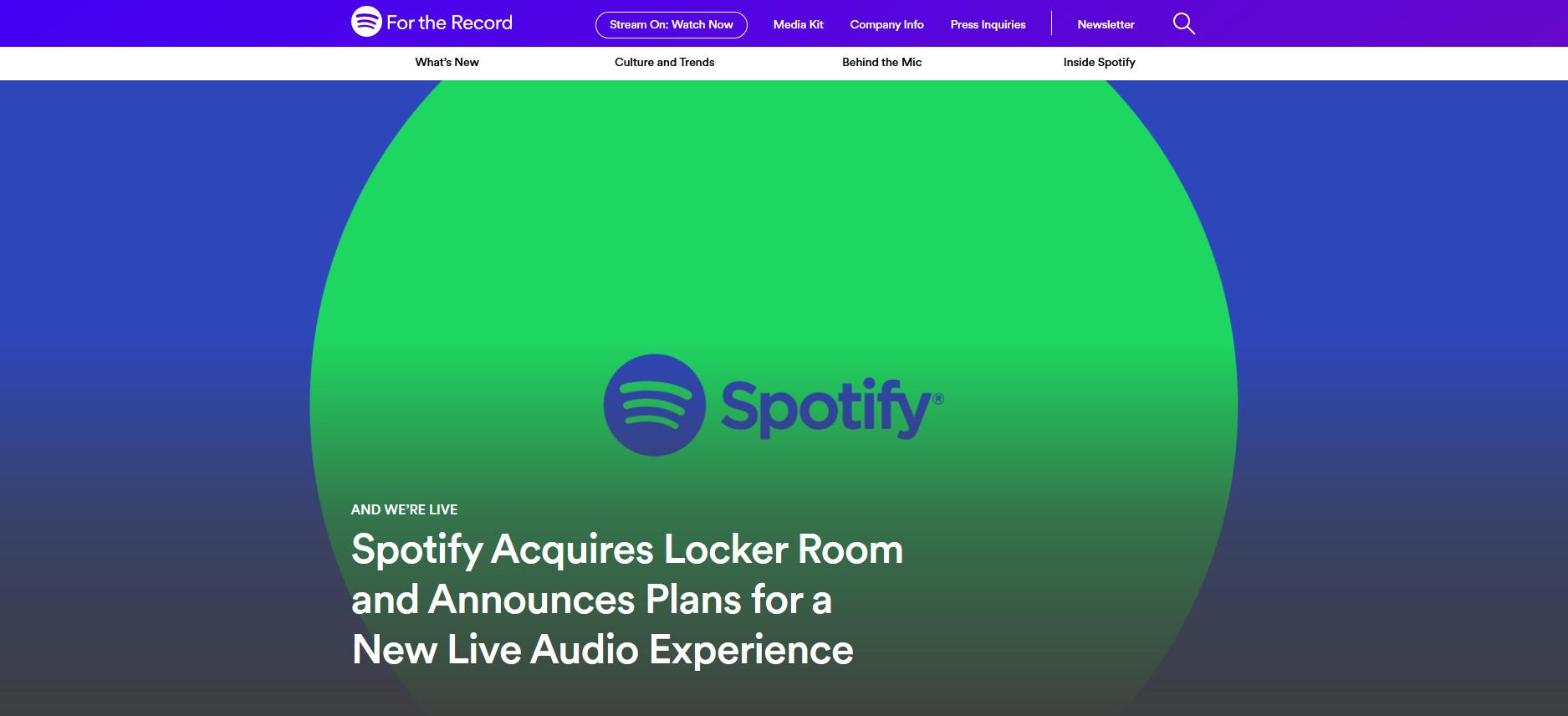 Spotify Acquires Live Audio Platform Locker Room