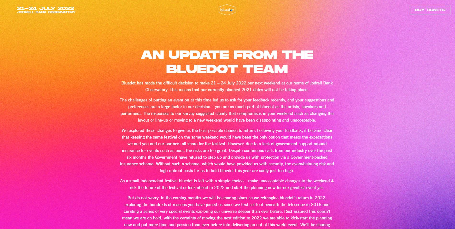 Bluedot Festival Postponed Until 2022