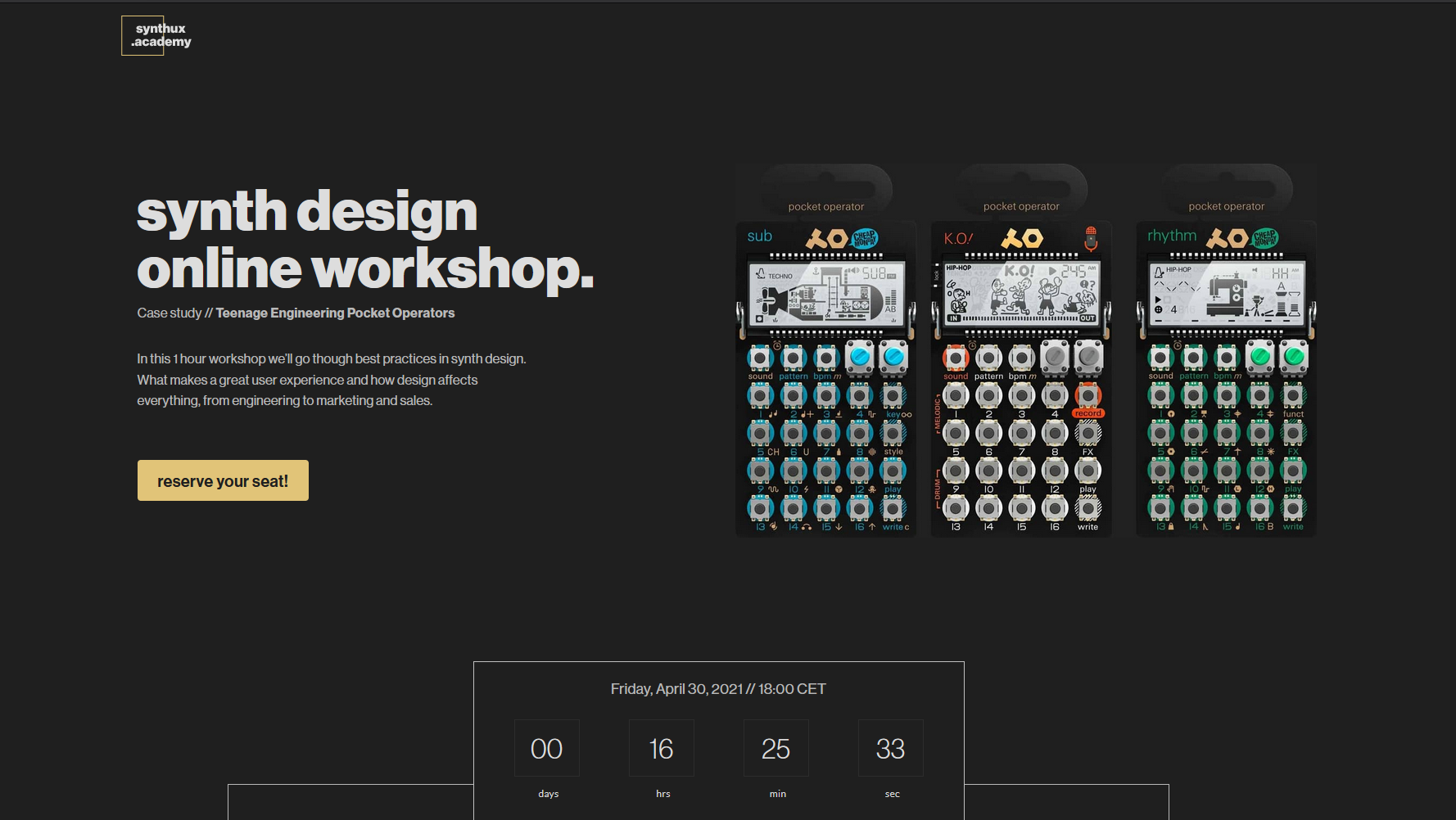 Free Online Synth Design Workshop