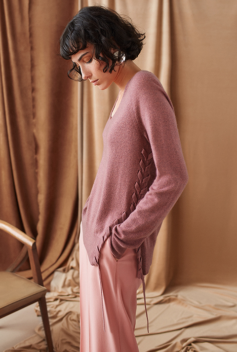 MERINO CASHMERE ASYMMETRICAL LACED VNECK