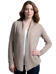 Cashmere Hi Lo Cable Open Cardigan