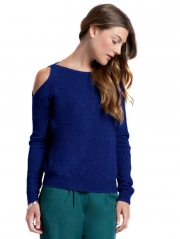 Cashmere Cold Shoulder Slashneck