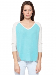 Cashmere Color Block Soft V Neck