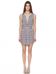 Square Print Sleeveless Dress