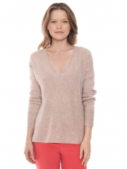 Cashmere Sheer Panel Vneck