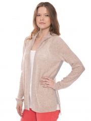 Cashmere Hooded Open Cardigan