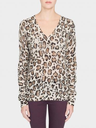 Cashmere Leopard Print V Neck