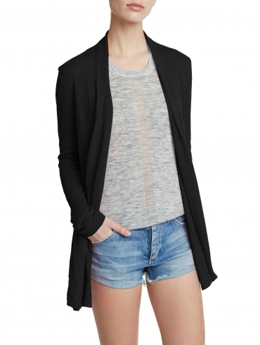 Cotton Slub Tuck Placket Cardigan
