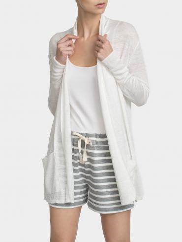 Linen Rib Pocket Cardigan