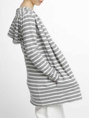 Combed Cotton Hooded Cardigan
