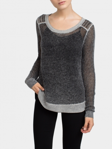 Cashmere Printed Mesh Shirtail