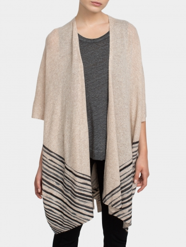 Cashmere Watercolor Stripe Poncho