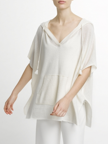 Spring Weight Cashmere Hooded Poncho