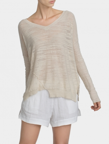 Cotton Slub Trapeze V Neck