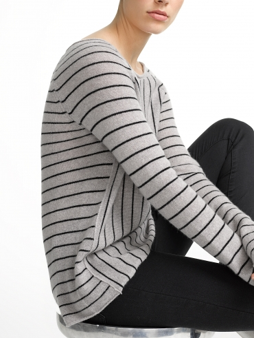 Cashmere Mixed Striped Raglan