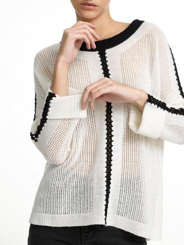 Cashmere Crochet Mesh Crewneck
