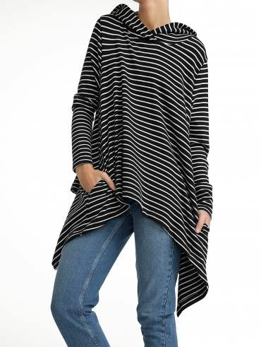 Combed Cotton Hoodie Poncho
