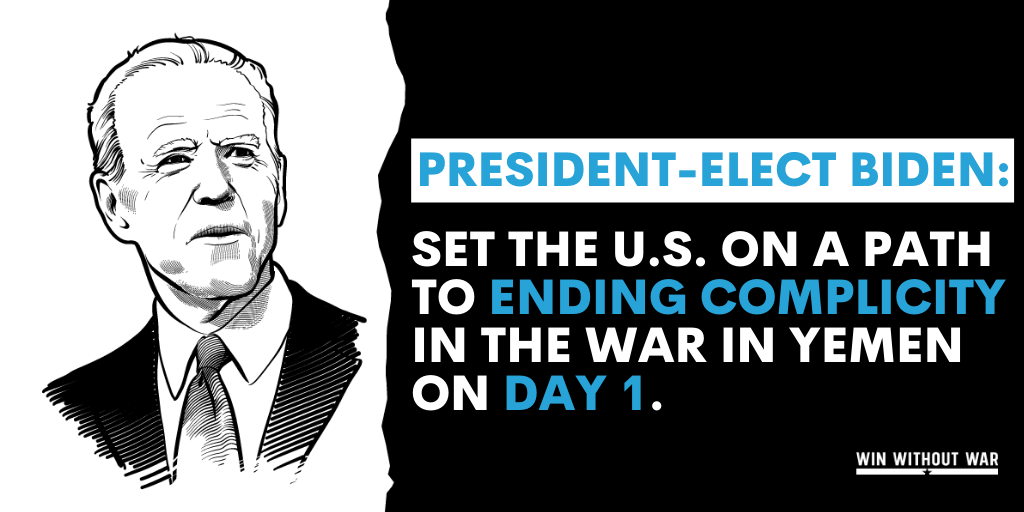 Day 1: Biden must start ending U.S. complicity in the war in Yemen.