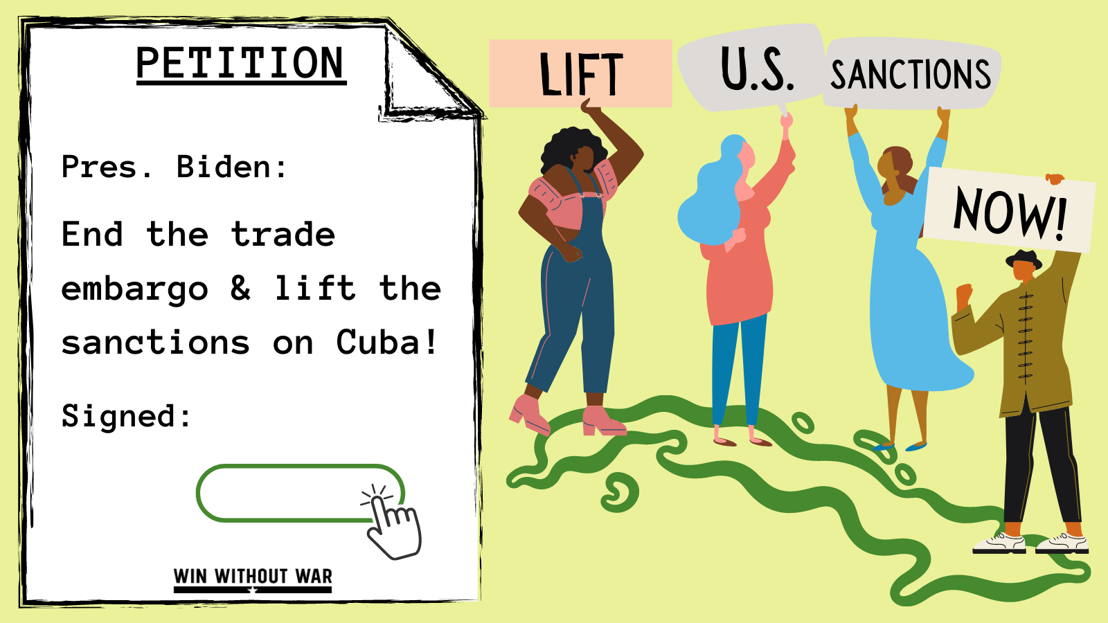 President Biden: End the sanctions and lift the trade embargo on Cuba!