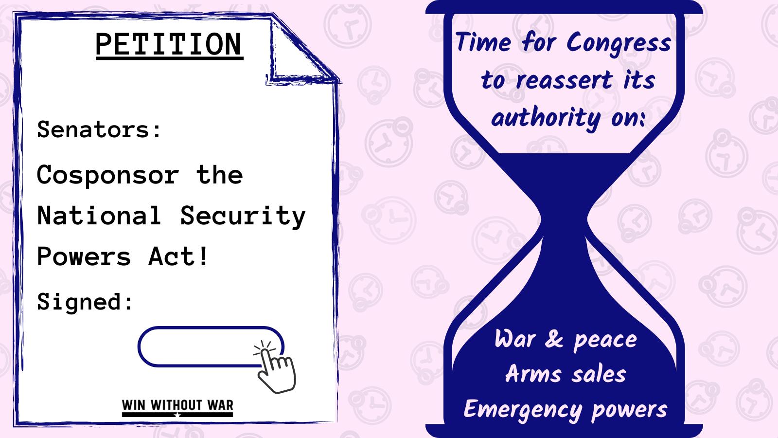 Senators: Cosponsor the National Security Powers Act!