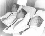 Donald Waid, Dana Zehebach, and Cylde Lowstutter Sleeping on the Way to the Cotton Bowl 1965