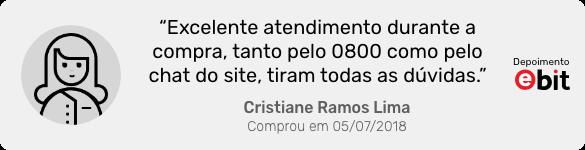 Depoimento da cliente Cristiane Ramos Lima