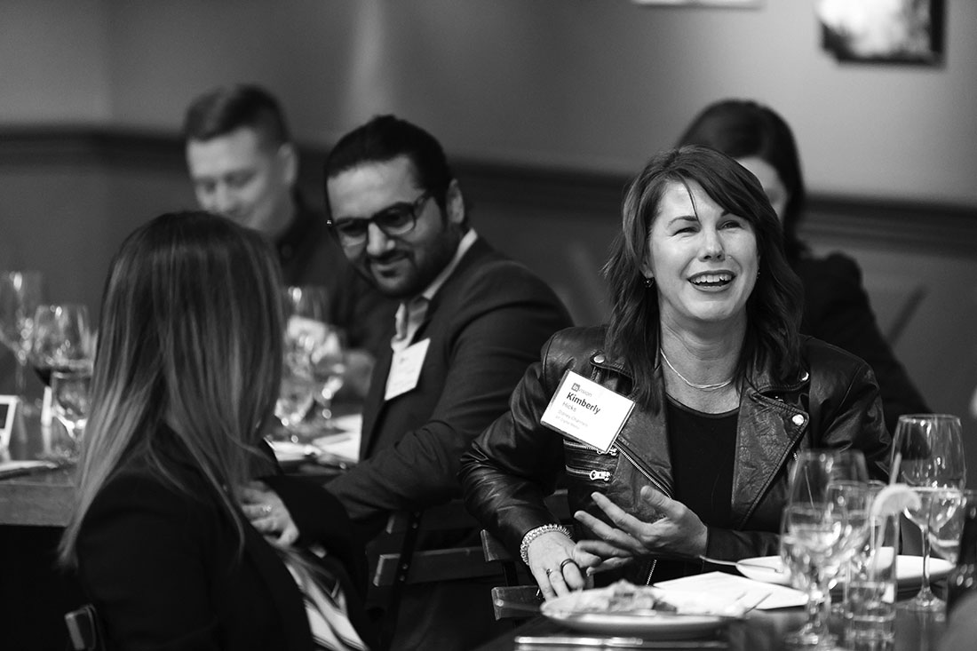 Kimberly Hicks (Disney), Mindy Duong (East West Bank), Puneet Thakar (Appetize) trade hiring strategies at the Los Angeles dinner.