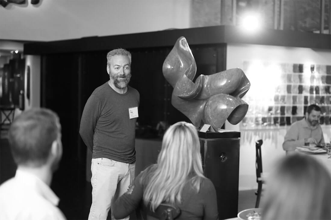 Mike Davidson facilitating a member dinner in Palo Alto with design executives from Google, Atlassian, SurveyMonkey, Hortonworks, and 20 other companies.