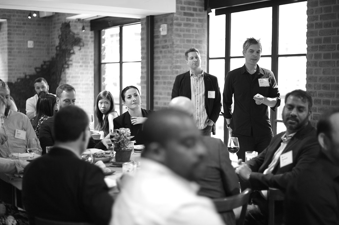 Brent Brooks (AIG), Bob Calvano (A+E Networks), Aaron Gardner (Blackrock), and Maria Nicholas (Moody's Analytics) listen in for insights on leading growing design teams