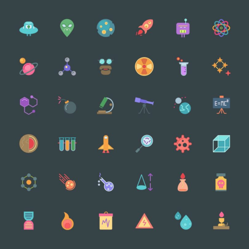 download 104 free science themed icons for your next design project
