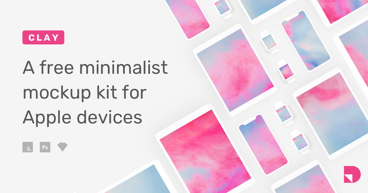 Clay—a free minimalist mockup kit for Apple devices