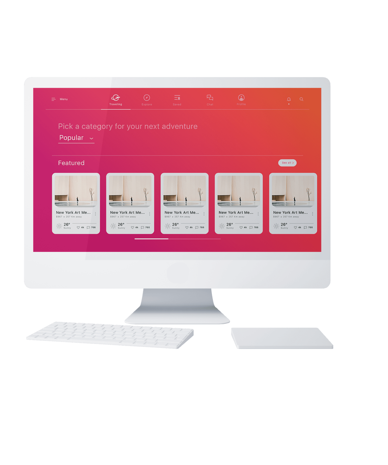 Begin your adventure with Atlas, a travel app UI kit from InVision