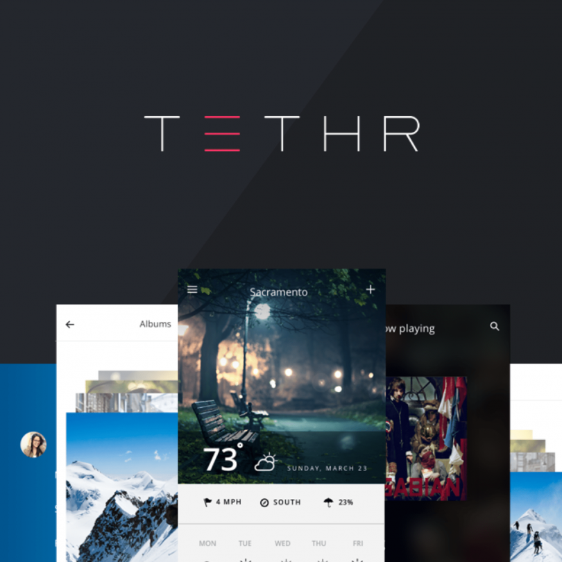 Get TETHR, a free mobile app UI kit from InVision