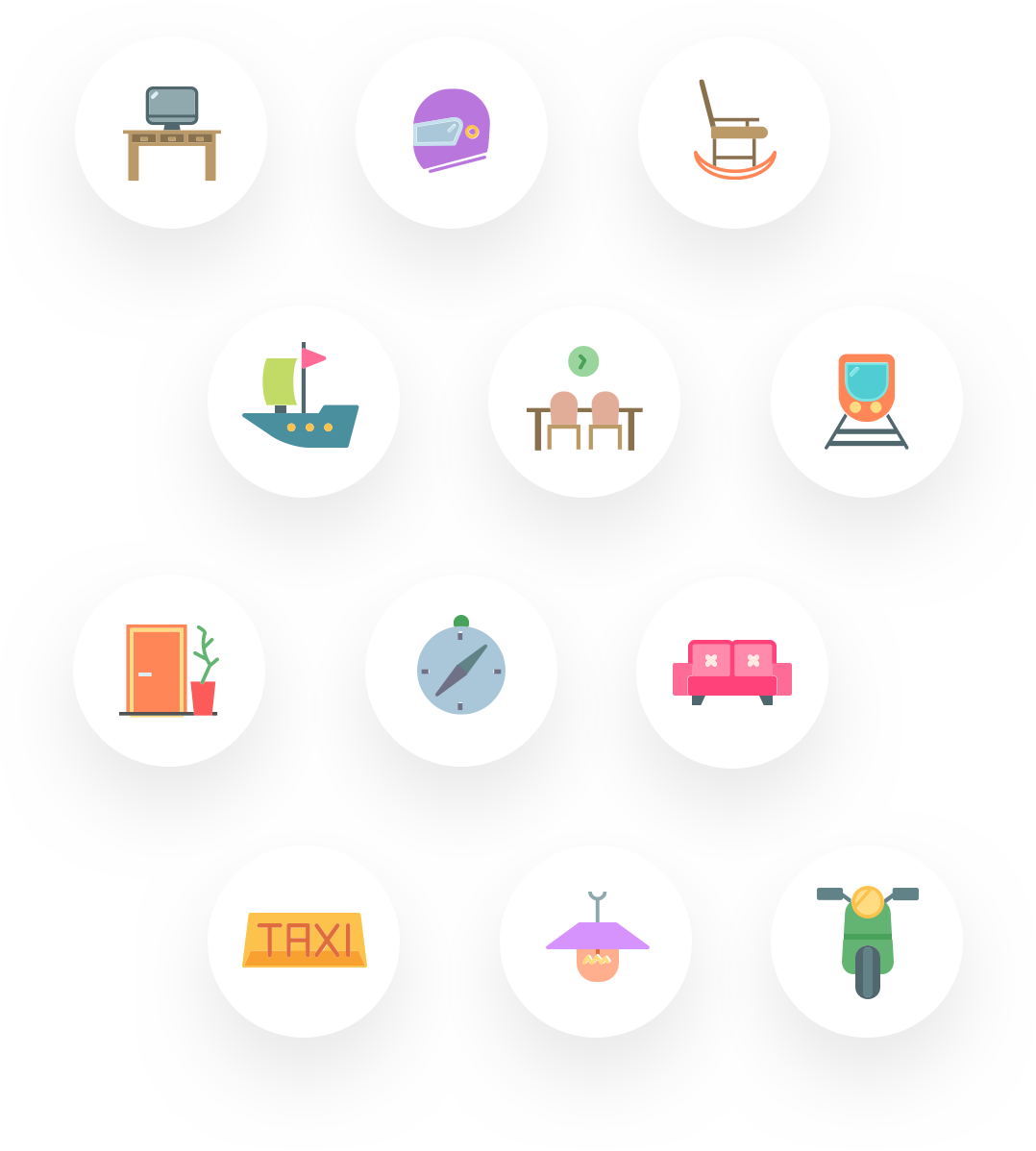 192 custom transport & household icons
