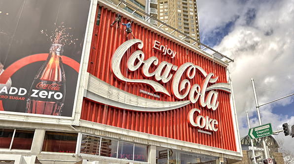 The famous Coca-Cola billboard in Sydney, Australia