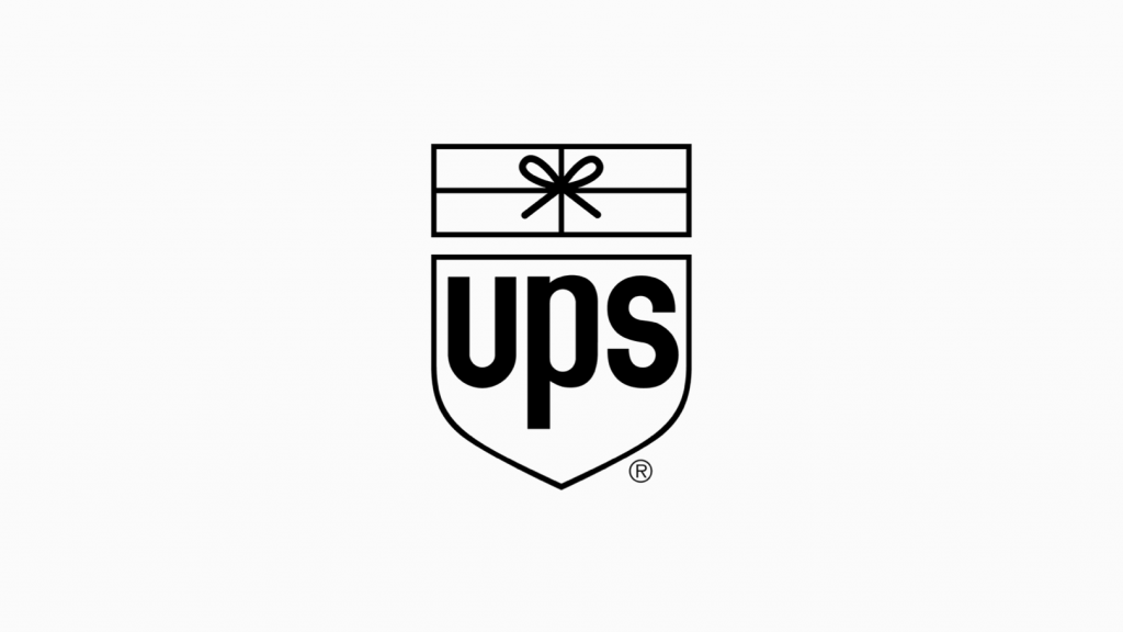 ups black white logo with shield and gift box