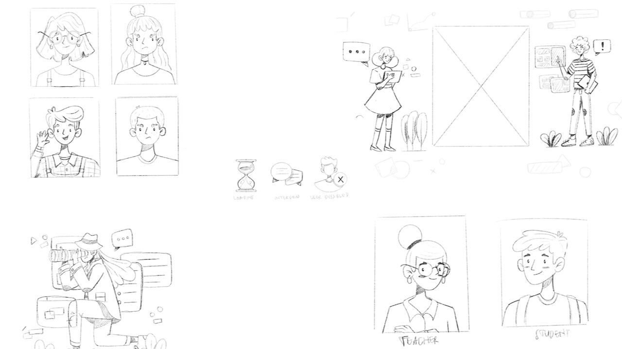 Early sketches of the student and teacher illustrations used in the ViTA system