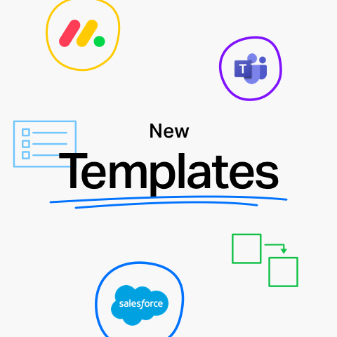 """Image that says """"new templates"""" with images of Microsoft Teams, Monday.com, and Salesforce logos."""