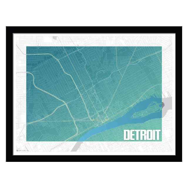 Artisan, Eco-Friendly, Designer Detroit Blues Map