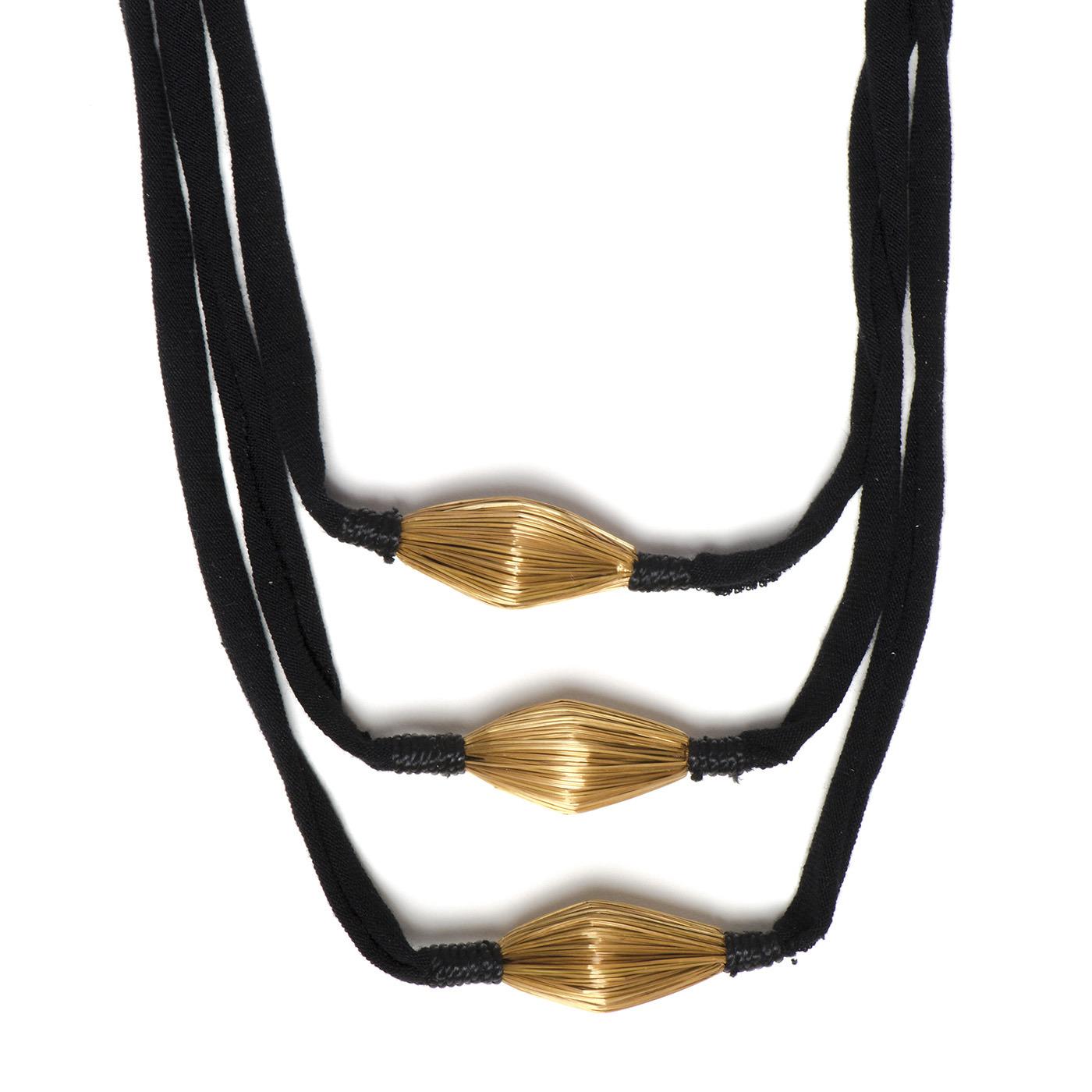 Artisan, Eco-Friendly, Designer Elevation Necklace -Black