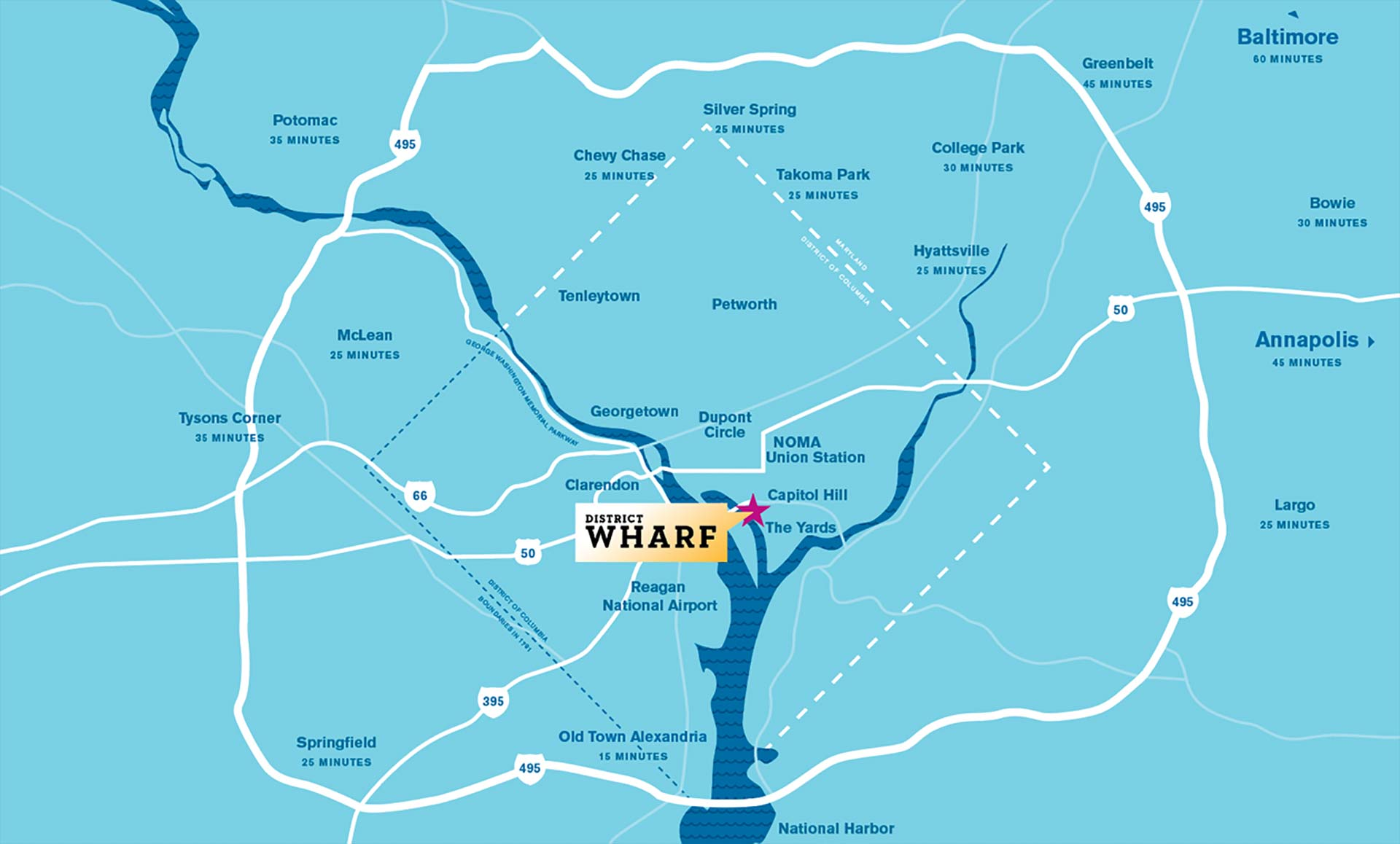 A regional map of Washington D.C. featuring the District Wharf