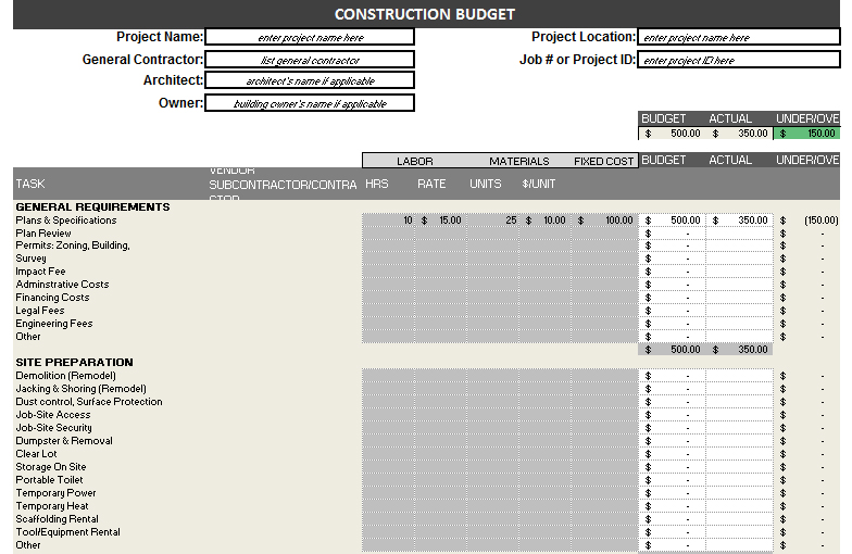 construction budget template free detailed budget template for