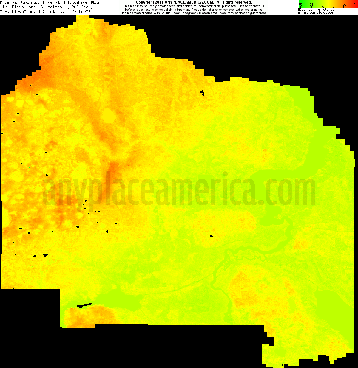 Download Alachua County Elevation Map