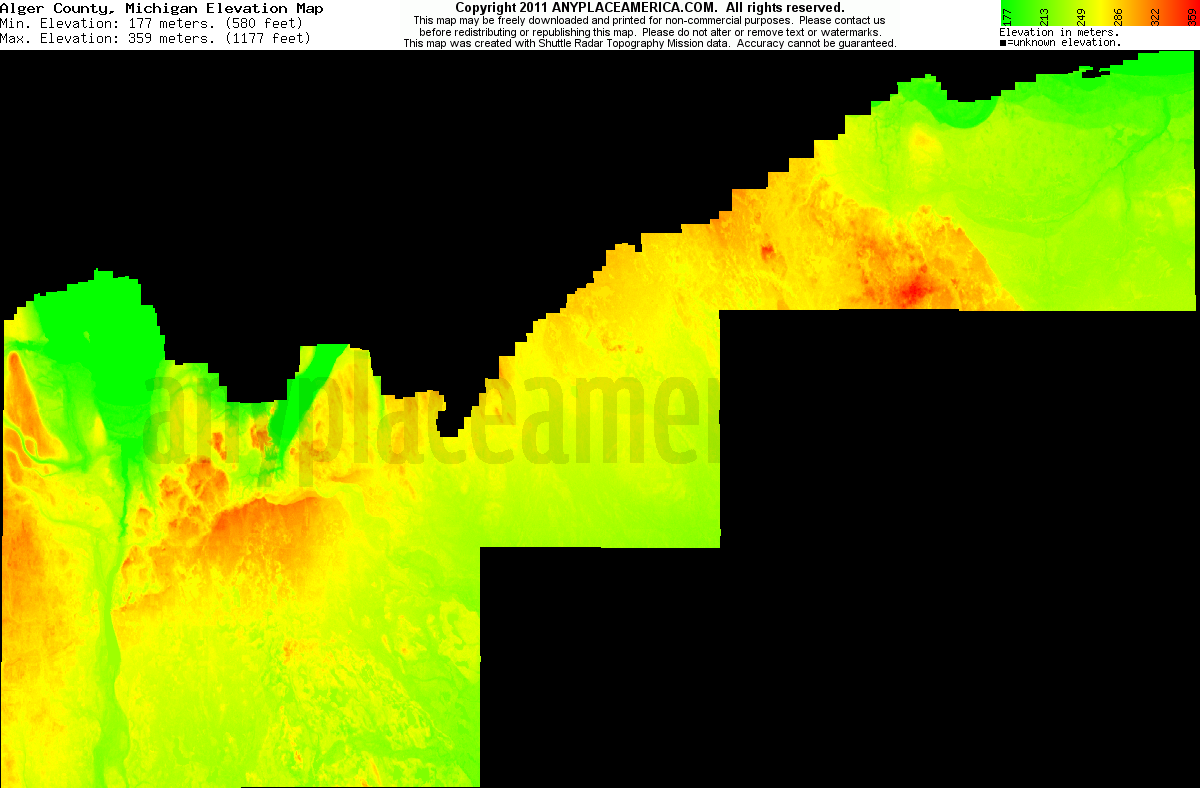 Michigan alger county trenary - Download Alger County Elevation Map