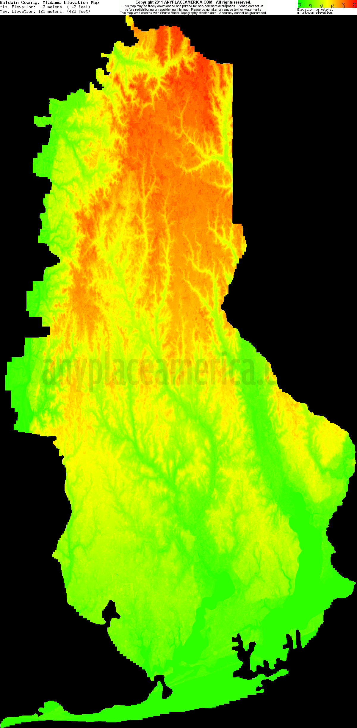 Download Baldwin County Elevation Map