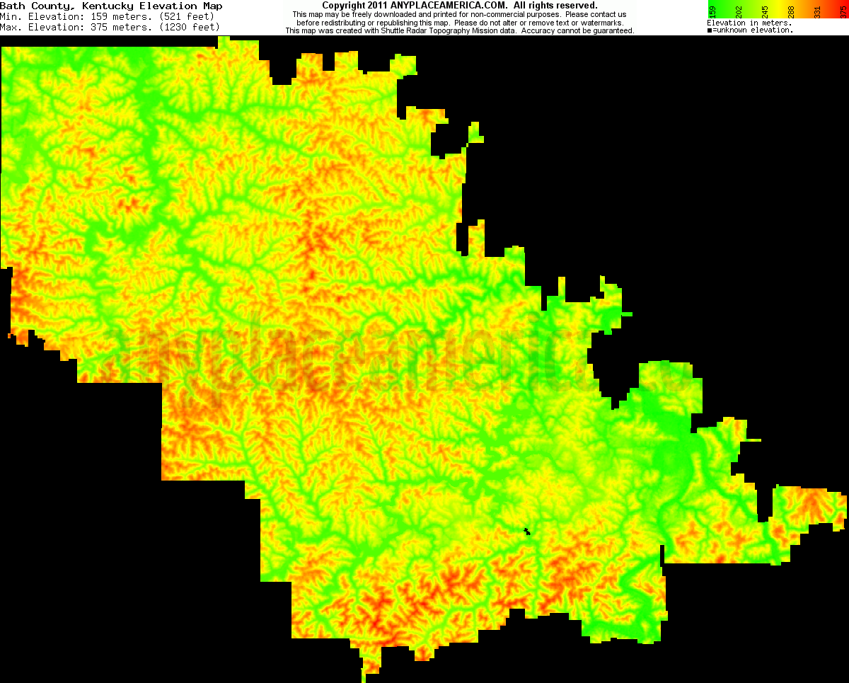 Bath, Kentucky elevation map