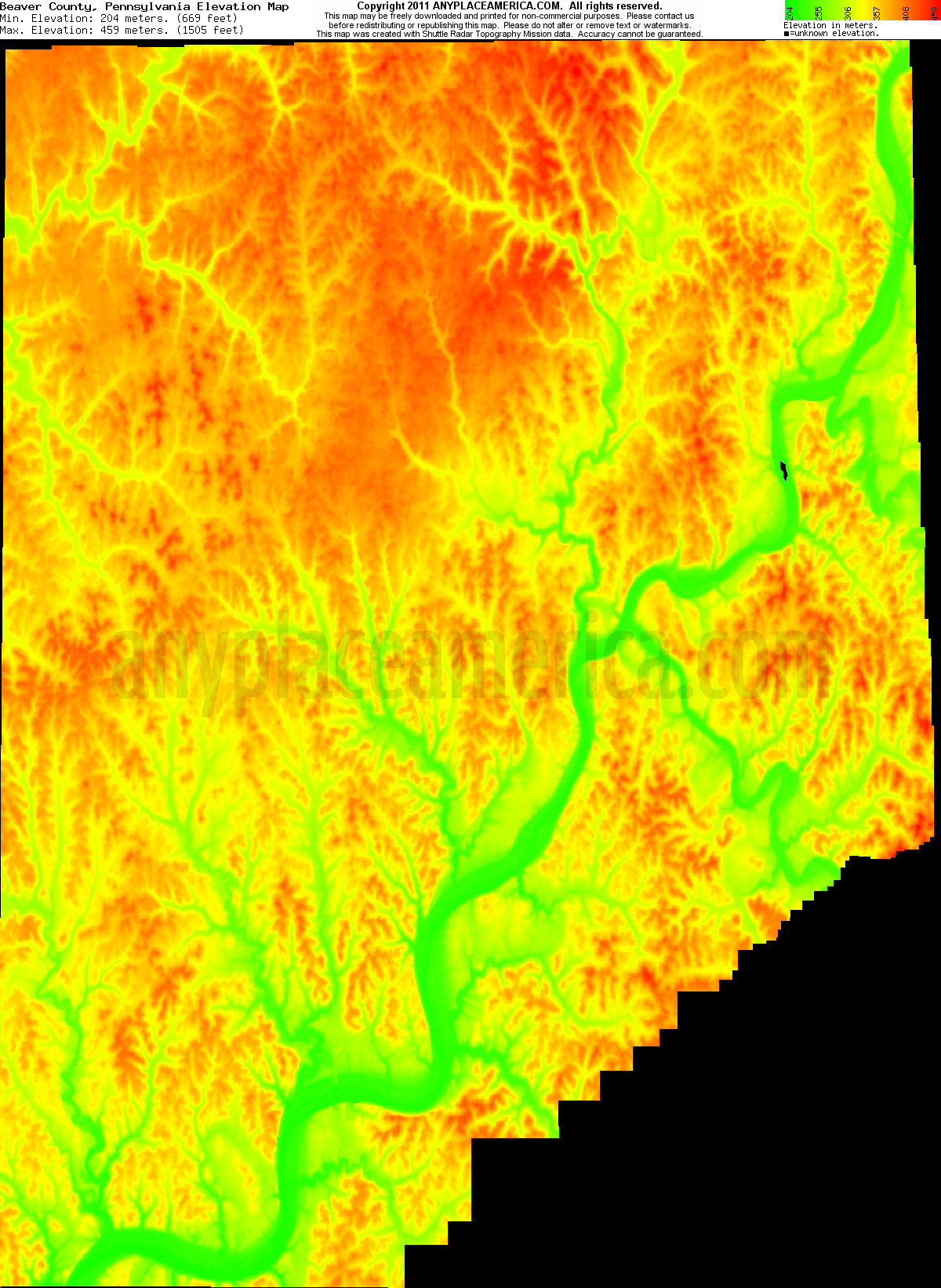 Beaver, Pennsylvania elevation map