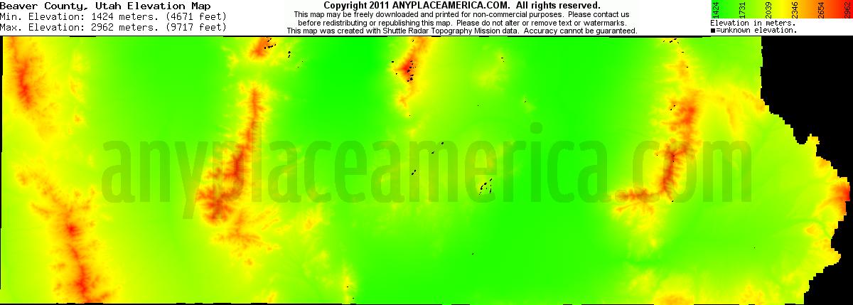 Free Beaver County Utah Topo Maps Elevations
