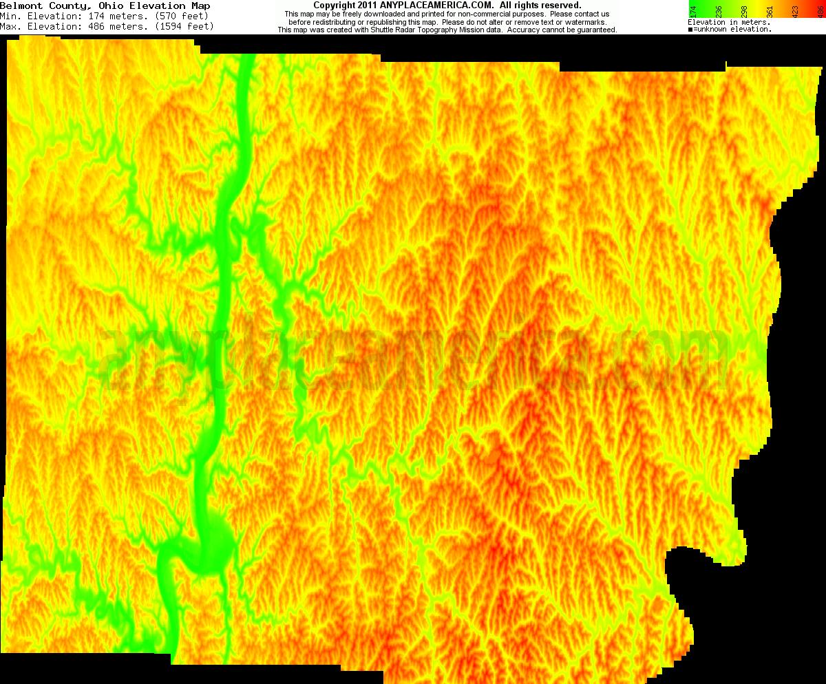Free Belmont County Ohio Topo Maps Amp Elevations
